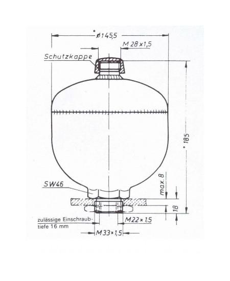 Diaphragm accumulator FREUDENBERG Integral Accumulator 1001315013511