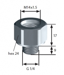 Thread adapter: F-M14x1,5 > M-G1/4 SUCO 1183420006