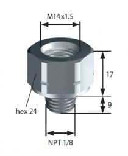 Thread adapter: F-M14x1,5 > M-NPT1/8 SUCO 1183420008